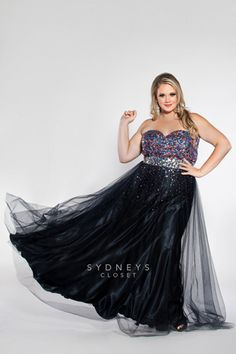 Add some sparkle to your special night in this spectacular 2014 Plus Size Prom gown with multi-colored beaded bodice.  Sydney's Closet style SC7106. http://www.sydneyscloset.com/sydneys-closet/7106/
