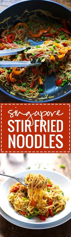 You Have Meals Poisoning More Normally Than You're Thinking That Stir Fried Singapore Noodles With A Garlic Ginger Soy Sauce. New, Simple, Delish. Ginger Sauce, Soy Sauce, Garlic Sauce, Vegetarian Recipes, Cooking Recipes, Healthy Recipes, Asian Recipes, Ethnic Recipes, Asian Foods