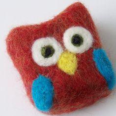 I love it!!  Felted soap Mini Monster orange owl by saplingnaturals on Etsy