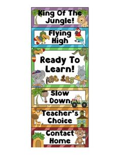 Behavior Clip Chart - Jungle by Marlie Rose Jungle Theme Classroom, New Classroom, Classroom Design, Kindergarten Classroom, Classroom Themes, Behavior Clip Charts, Behaviour Chart, Preschool Jungle, Jungles
