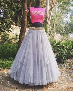 Grey layered skirt with a stunning pink tie-up crop top Indian Designer Outfits, Designer Dresses, Indian Dresses, Indian Outfits, Indian Clothes, Lehenga Crop Top, Lehnga Dress, Lehenga Choli, Anarkali