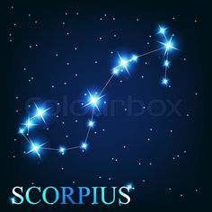 Scorpio, the eighth sign of the Zodiac. Beautiful bright stars on the background of the cosmic sky   Vector   Colourbox
