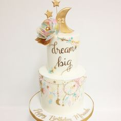 Dream big little one. Boho Birthday, 18th Birthday Cake, Wild One Birthday Party, 10th Birthday Parties, Birthday Cake Girls, Girl First Birthday, Birthday Ideas, Dream Catcher Cake, Boho Cake