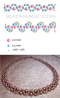 Best Seed Bead Jewelry 2017 Free pattern for necklace Cacao Diy Necklace Patterns, Pearl Necklace Designs, Beaded Bracelet Patterns, Beading Patterns, Peyote Bracelet, Beaded Earrings, Beadwork Designs, Necklace Tutorial, Seed Bead Jewelry