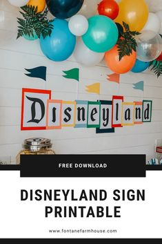 Disneyland Sign, Disneyland Birthday, Disney Sign, Disney Day, Vintage Disneyland, Disney Birthday, Birthday Party Themes, Disney Themed Party, Birthday Ideas