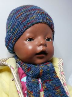 Puppenkleidung - Mütze mit Schal dunkelblau  - ein Designerstück von by_Masha bei DaWanda