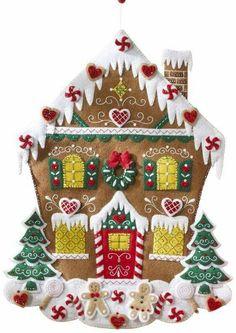 Bucilla Felt Applique Advent Calendar Kit, 18 by 86585 Nordic Gingerbread House Gingerbread House Kits, Gingerbread Crafts, Christmas Gingerbread, Christmas Makes, Christmas Art, Handmade Christmas, Felt Christmas Decorations, Felt Christmas Ornaments, Xmas Crafts