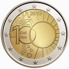 €2 commemorative coins - Belgium 2013, 100th anniversary of the creation of the Royal Meteorological Institute.   Commemorative 2 euro coins from Belgium