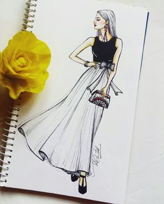 271 Likes, 15 Comments - Dipti Patel Fashion Illustration Sketches, Fashion Sketchbook, Fashion Sketches, Image Clipart, Art Clipart, Dress Sketches, Dress Drawing, Fashion Figures, Fashion Design Drawings