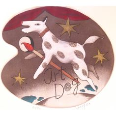 Peter Barger - Art Dog hand colored etching image size x paper size x 16 Hand Coloring, Paper Size, Size 10, Clock, Dog, Wall, Artist, Prints, Image