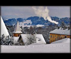 La Chaux de Fonda, Canton of Neuchatel, Switzerland What A Wonderful World, Beautiful World, Beautiful Places, Swiss Switzerland, Picture Postcards, Snow And Ice, Swiss Alps, My Heritage, Winter Day