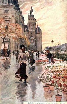 Georges Stein; Paris, conciergerie, Marche aux Fleurs; (spring rain at the Paris Flower Market)