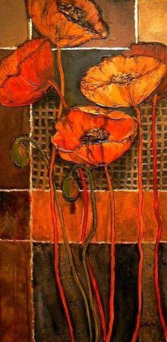 Poppy Patterns, 1038 by Carol Nelson Acrylic ~ 36 x 18