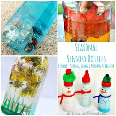 These Seasonal Sensory Bottles for Babies and kids are just so cool! Love all the ideas here.. 25+ to check out in total!