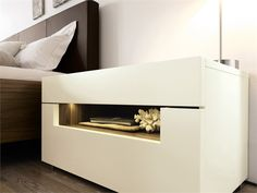 Lacquered bedside table with built-in lights Elumo II Collection by Hülsta-Werke Hüls