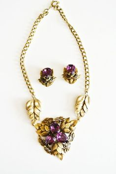 Vintage 50s Joseff of Hollywood Purple Leaves Necklace Earrings Set   eBay