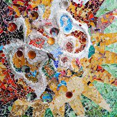 Gaudi's mosaic from Hypostile Hall - Parque Güell - Barcelona
