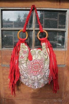 Leather vtg kilim tapestry  woven red suede by SweetSmokebags, $99.00