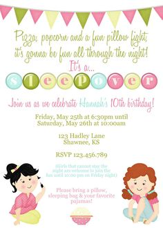 Make your own pajama party invitations kids birthday party ideas slumber party invitation by jaebirddesign on etsy stopboris Choice Image