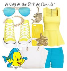 """A Day at the Park as Flounder"" by disneygirl22 ❤ liked on Polyvore featuring maurices, H&M, Ray-Ban, Converse, AndMesh, Roberto Cavalli, disney, thelittlemermaid, disneybound and Flounder"