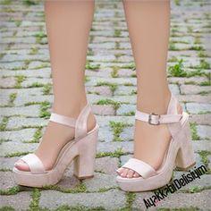 Vernalis Süet Pudra Kalın Platform Topuklu Ayakkabı