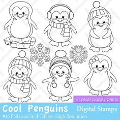 Sea Animals Digital Stamps Clipart by pixelpaperprints Etsy Colouring Pages, Coloring Books, Penguin Coloring Pages, Christmas Colors, Christmas Crafts, Christmas Clipart, Penguin Cakes, Cute Penguins, Digital Stamps