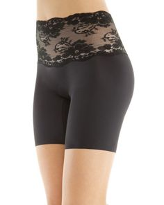 """The Chic Peek is my new favorite model of Spanx (actually, they're from the sister line, """"Assets"""" available at Target). It's a mid-thigh shaper that controls the tummy, legs, and rear, leaving NO PANTY LINE and no muffin top! They have a very comfy cotton gusset so they can be worn as underwear. The lace band offers a hint of sexiness, making them look less """"utilitarian"""" as regular Spanx. Can't wait to try 'em out with some of my more snug-fitting clothes. Retails for $35."""