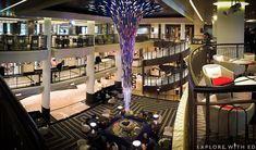 The starburst feature and atrium inside P&O cruises Britannia.