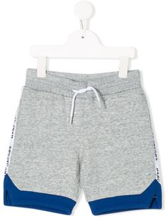 Grey and blue cotton drawstring colour-block shorts from LITTLE MARC JACOBS featuring a drawstring waist, a short length, a panelled colour block design, a printed logo and a rear pocket. Little Marc Jacobs, Color Blocking, Gym Shorts Womens, Women Wear, Swimwear, Cotton, Kids, Fashion Design, Clothes
