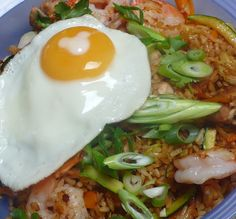 Nasi Goreng, Fried rice with chicken and shrimps.