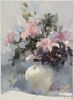 【姬百合,Mid-century Lily】Watercolour by Chien Chung Wei,36X27 cm ,Demo