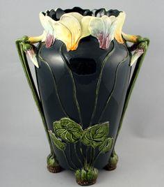 """Amphora Pottery, Art Nouveau vase by Julius Dressler, majolica glaze, Dimensions: H 14"""" x W 11"""" x D 8 1/4"""""""