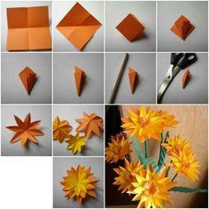 Meetkundige relaties - symmetrie - Papieren bloem vouwen diy