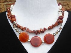 Statement Necklace  Agate Pearls goldstone and by CopperTowneGems, $89.00