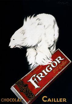 Frigor, Chocolat Cailler. Advertising poster by Leonetto Cappiello shows a polar bear holding Frigor chocolate. Lithograph by Les Nouvelles Affiches Cappiello, 32, Rue Beaujon, Paris, 1929.