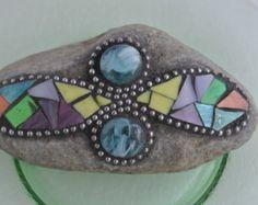 Mosaic Flower Rock Paperweight Garden Stone by PalsCreations