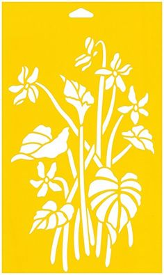 """12"""" x 7"""" (30cm x 17.5cm) Reusable Flexible Plastic Stencil for Cake Design Decorating Wall Home Furniture Fabric Canvas Decorations Airbrush Drawing Drafting Template - African Violet Flowers Leaves"""