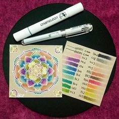 Awesome mandala and colour swatches by @pixie_blue_eyes with their Chameleon Pens.  #chameleonpens #mandalapassion #mandala #drawing #design #zendala #doodling #colour #color #colouring #coloring