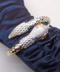 Vintage Snake Bracelet Whiting & Davis Goldtone Mesh Designer Serpent from spanishcomb on Ruby Lane