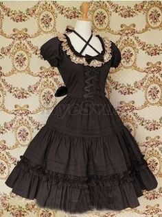 Black Front Ties Collar Lace Gothic Lolita Dress