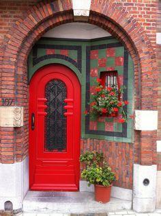 Red door | by Patrick goeman interesting entryway with door and side window.