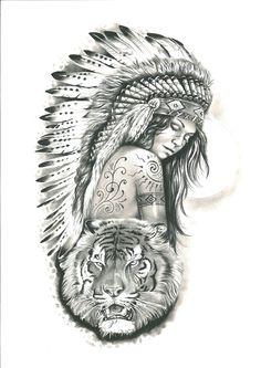 Native American Tattoos, Native Tattoos, Native American Headdress, Indian Women Tattoo, Indian Girl Tattoos, Sleeve Tattoos For Women, Arm Tattoos For Guys, Tattoo Drawings, Body Art Tattoos