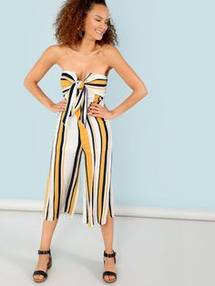 e0c3b5a5295e Stripe Strapless Jumpsuit with Front Tie -SheIn(Sheinside) Strapless  Jumpsuit