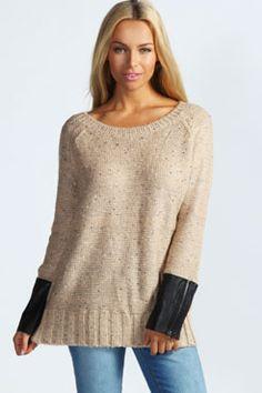 Lola Zip PU Cuff Marl Sweater