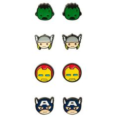 Marvel Avengers Hulk Iron Man Thor Captain America 4 Pair Stud... (£10) ❤ liked on Polyvore featuring jewelry, earrings, accessories, joias, stud earrings and stud earring set