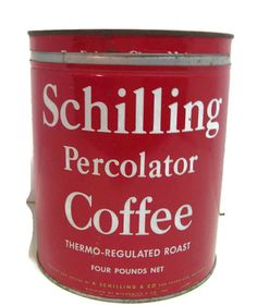 large vintage tin Schilling Percolator Coffee 4 by mudintheUSA