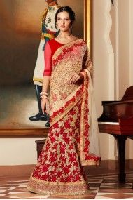 Georgette and Net Designer Saree In Beige and Red Colour