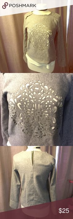 Gorgeous Long Sleeve Top ✨✨✨ Beautiful laser cut grey overlay on a polyester under shirt. It is one top. Beautiful one of a kind stitching from a designer boutique. Size 4 NWOT brand for exposure CAbi Tops Blouses