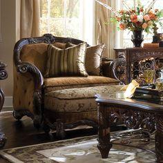 ~ AICO Essex Manor Wood Trim Chair and a Half Ottoman Set ~