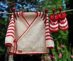 layette ensemble mérinos naissance-1 mois rayé écru et rouge neuf tricoté main brassière et chaussons : Mode Bébé par com3pom